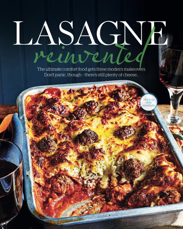 A large roasting tin showing a delicious family sized lasagne being served