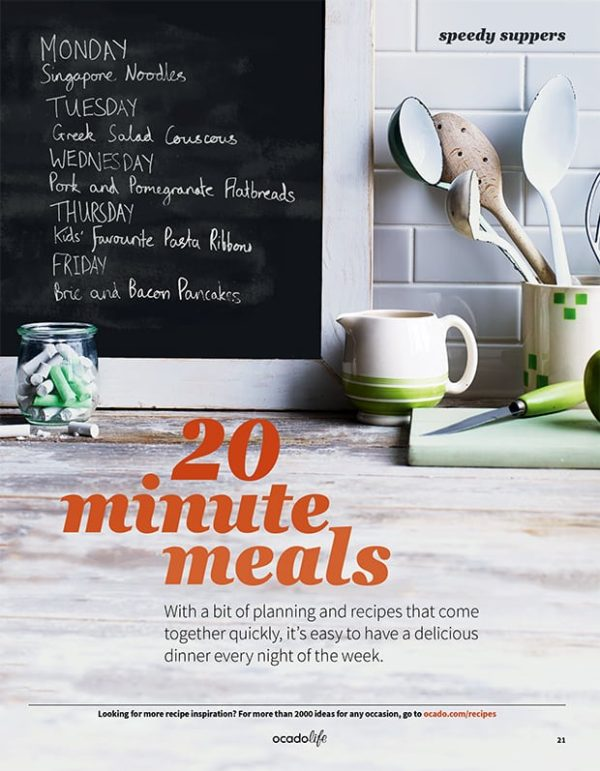 An opening shot showing a kitchen surface with a weekly meal plan