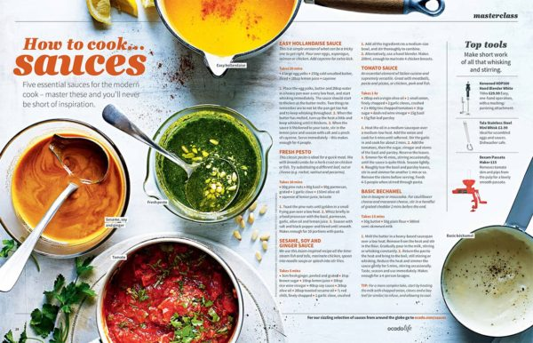 A double page feature showing a range of different sauces and how to make them