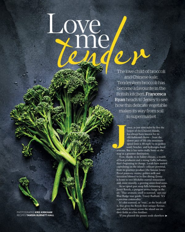A bunch of tenderstem broccoli laid on a grey surface