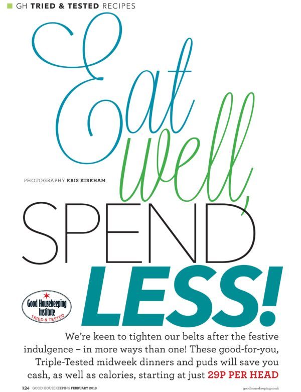 An opening page describing the feature of cheap easy meals