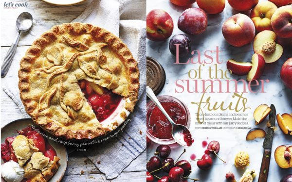One side of the page shows a nectarine and raspberry pie cut ready to eat, whilst the other page shows various summer fruits such as cherries and plums