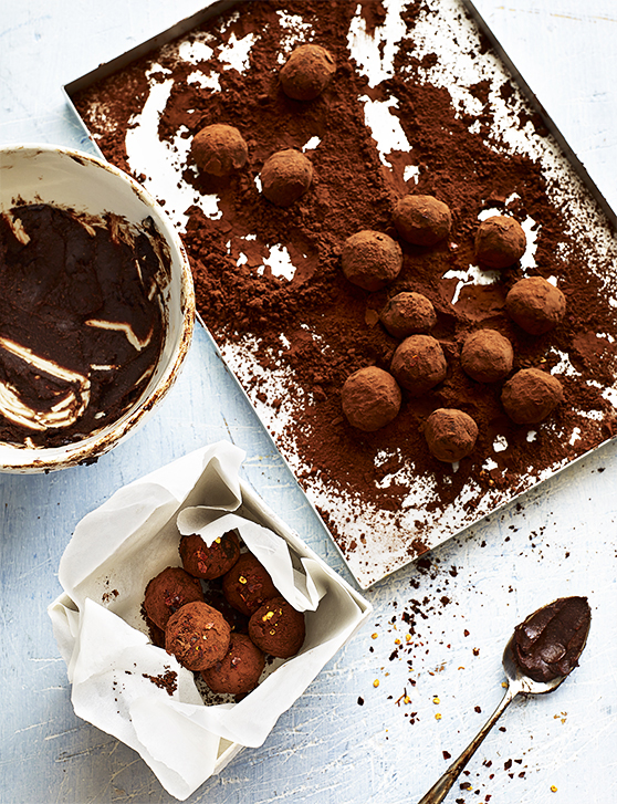 A tray of chocolate dusted truffles