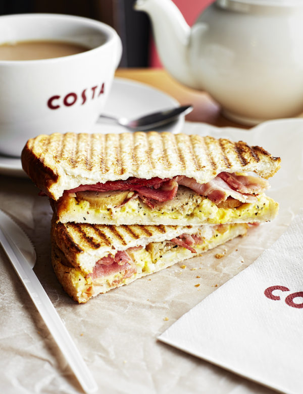 A classic breakfast toastie containing bacon, egg and sausage.