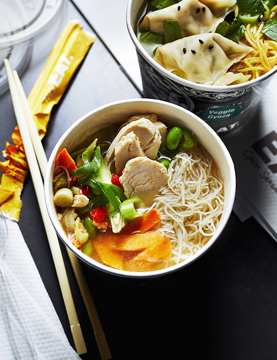 Shown here are two different soups from the vast range that can be purchased