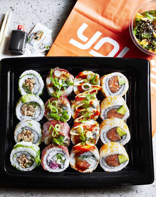 Example of a Yo Sushi Sharing Platter, filled with different types of sushi rolls available to share